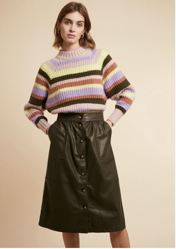 Khaki Skirt With Button Detail
