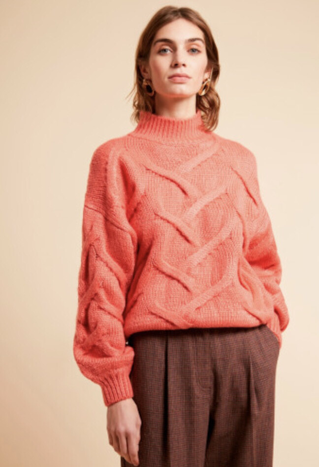 Coral High Neck Cable Knit Jumper