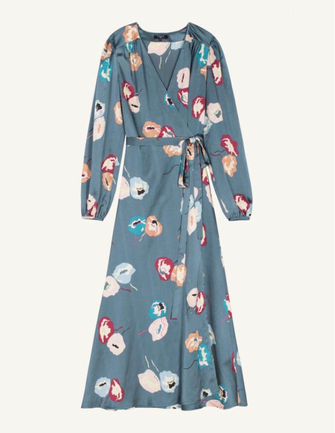 Teal Floral Print Wrap Dress
