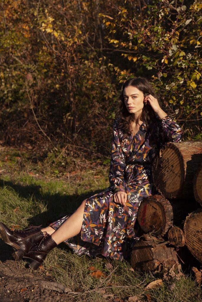 Printed Floral V-Neck Dress