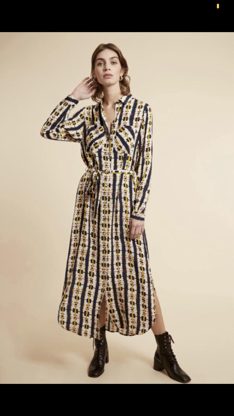 Navy And Mustard Printed Dress