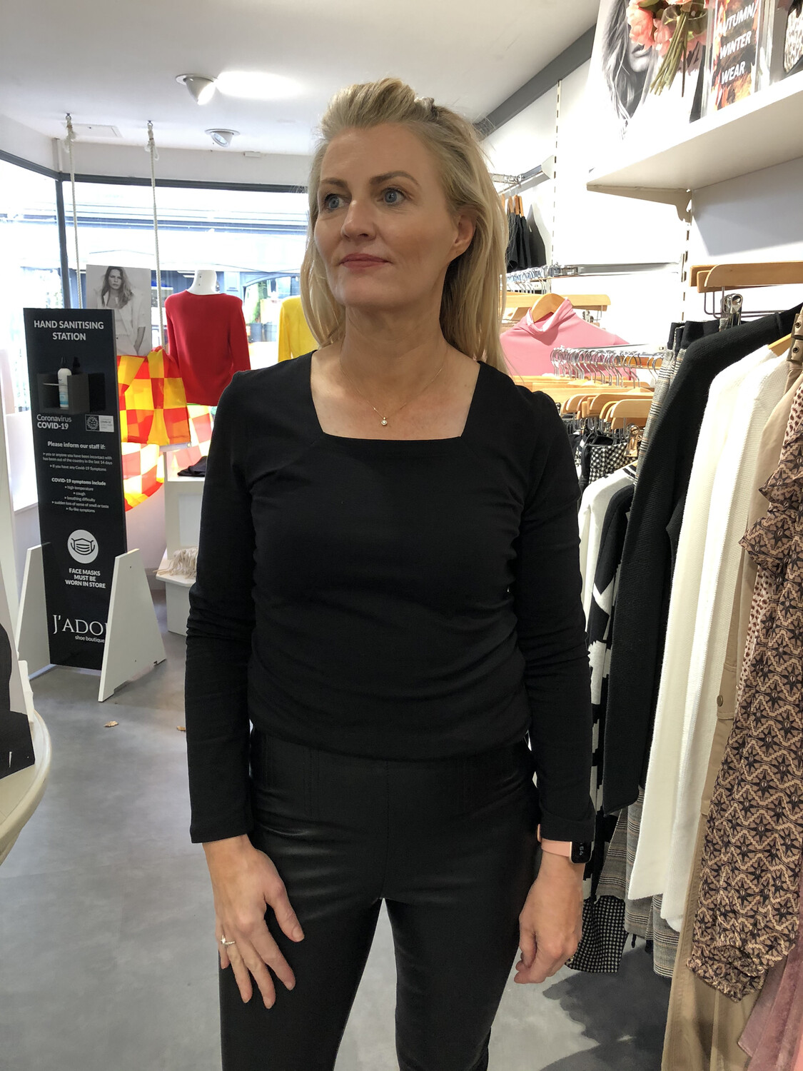 Black Cotton Stretch Long Sleeved Top