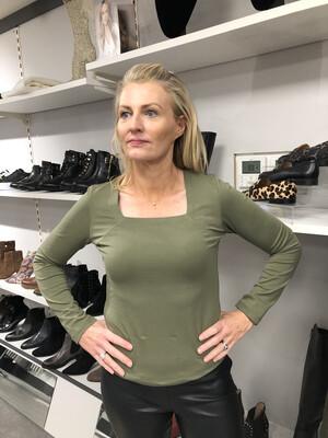 Khaki Cotton Stretch Long Sleeved Top