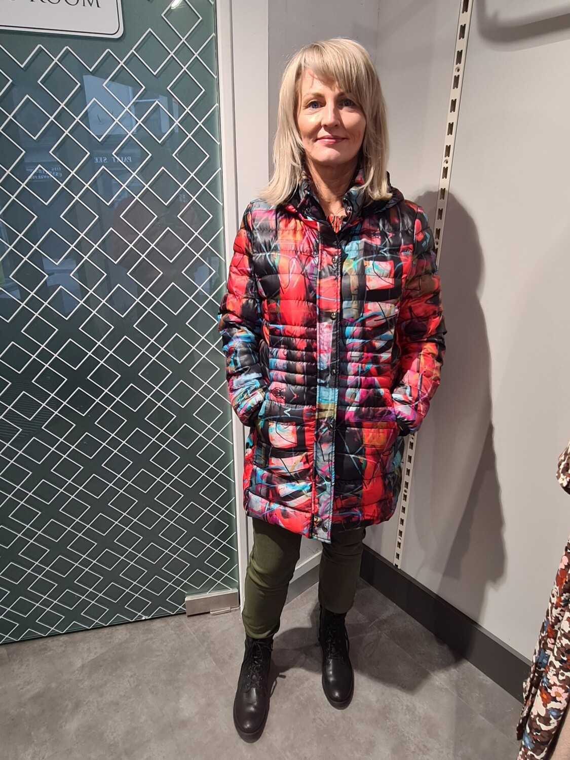 Red 3 Mixed Print Padded Coat With Detachable Hood