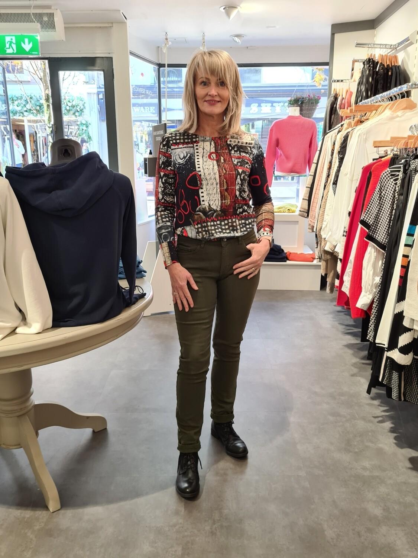 Khaki Cotton Mid Rise Slim Jean