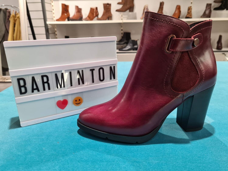 Burgundy Leather Block Heel Boot