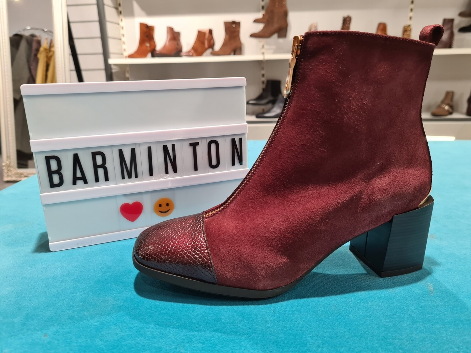 Burgundy Suede Boot With Zip Up Front And Patent Toe