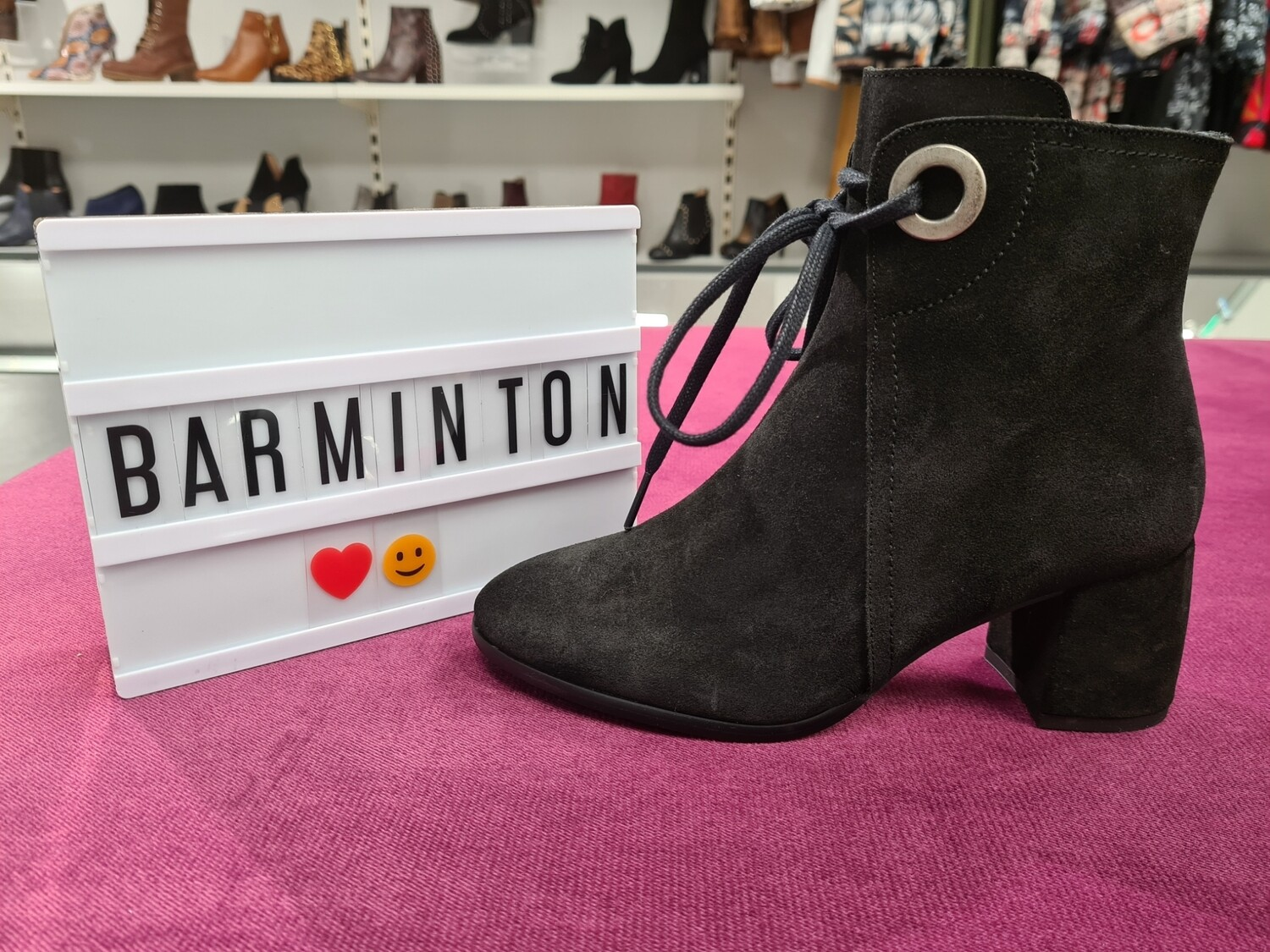 Black Suede Boot With Tie Up Lace