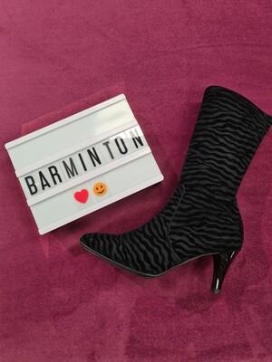 Black Zebra Velvet Print Sock Boot