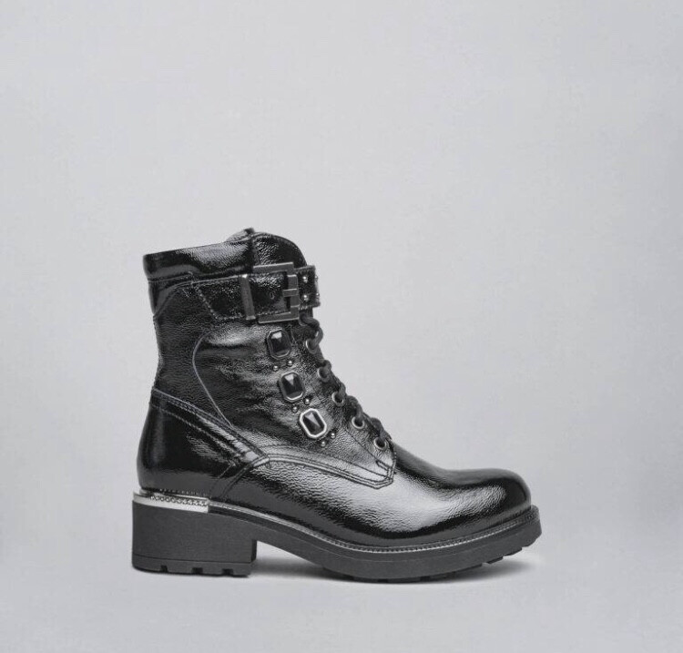 Black Patent Biker Style Boot With Jewel Detail