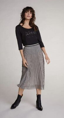 Black And Cream Geo Print Pleated Skirt