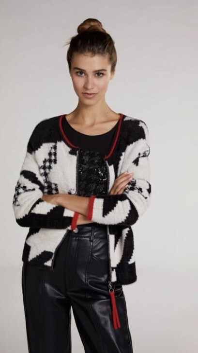 Black And Cream Knit With Red Detail