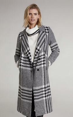 Black And Cream 3/4 Coat