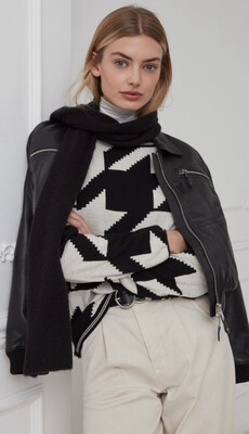 Black And Beige Geo Print Cotton Sweater