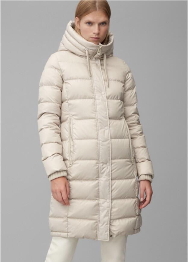 Woven Light Beige Puffa Knee Length Coat