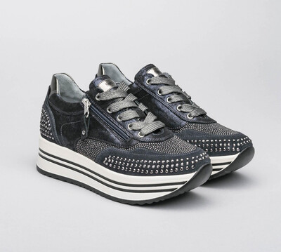 Navy Platform Sparkle Trainer