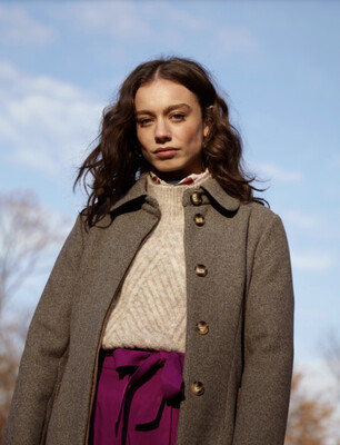 Tweed Belted Wool Coat