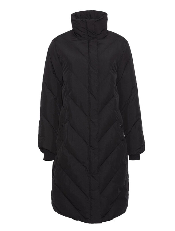 Black Knee Length Puffa Jacket