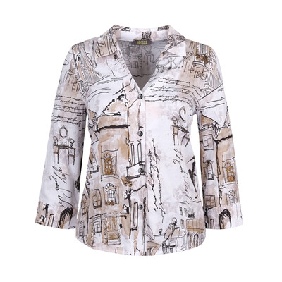 Mixed Print Cotton Blouse