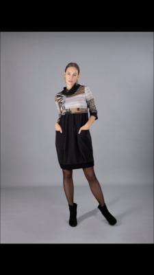 Mixed Print Long Sleeved Dress