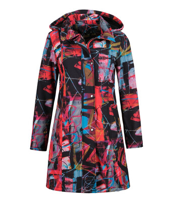 Red 3 Mixed Print Mac With Detachable Hood
