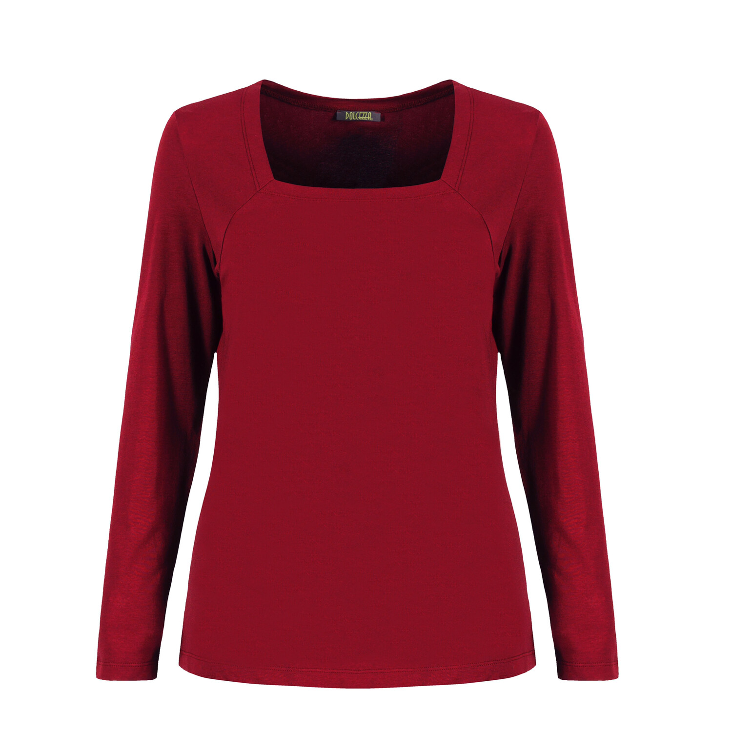 Red Cotton Stretch Long Sleeved Top