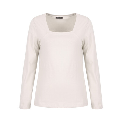 Stone Cotton Stretch Long Sleeved Top