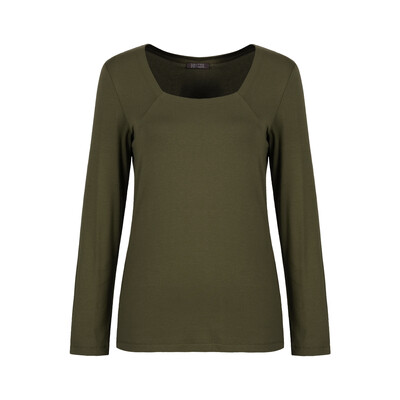 Khaki Cotton Stretch Long Sleeved Top