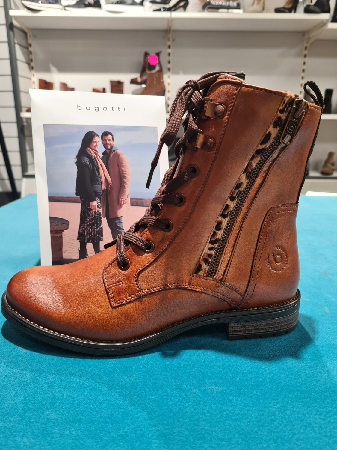 Tan Leather Laced Boot With Leopard Print Detail