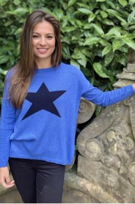 Cashmere Star Jumper Sea Blue/ Navy
