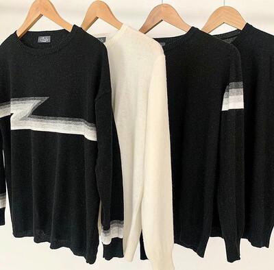 Lindy Cashmere Jumper Multi Colour Stripes On Sleeve Black