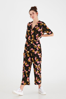 Black And Pink Floral Jumpsuit