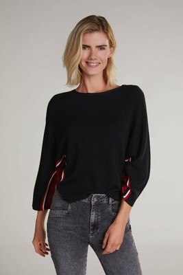 Black Fine Knit Jumper With Red And White Stripe Detail