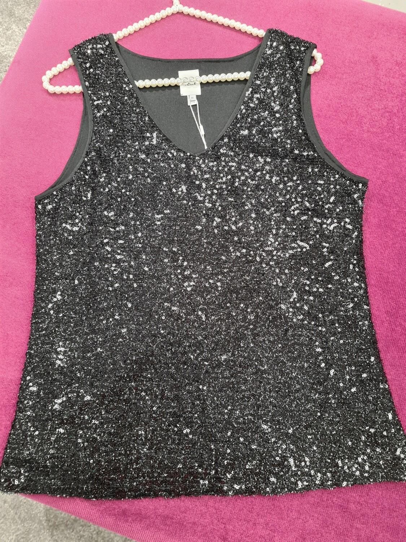 20113434 Black Sparkle Top