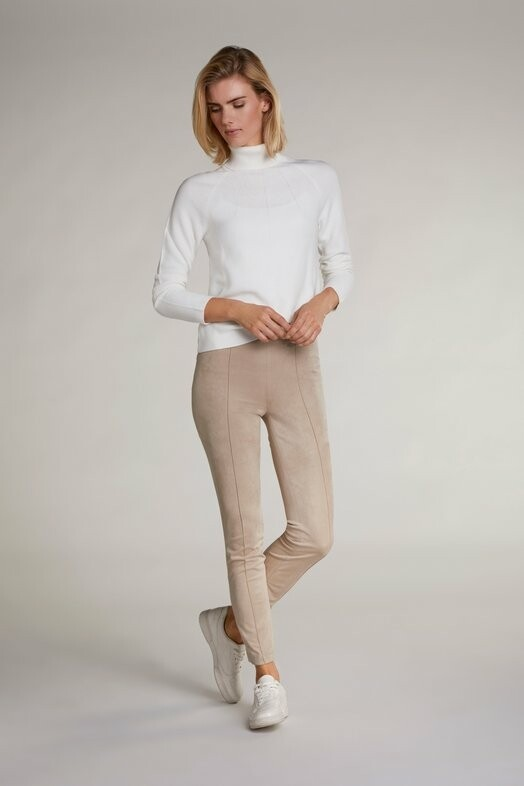 Beige Brush Suede Straight Leg Trousers