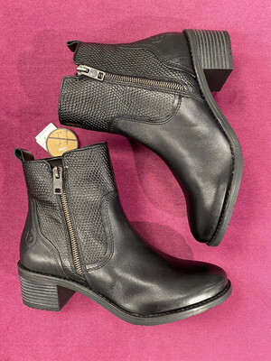 Black Leather Low Block Heel Ankle Boot