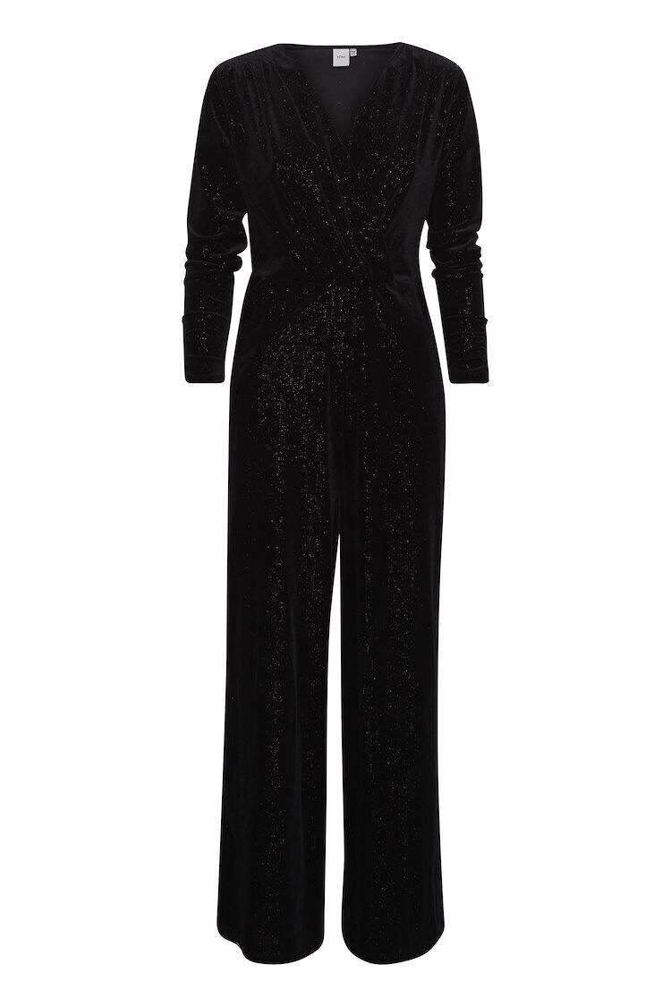 20113353 Black Velvet Jumpsuit With Sparkle Detail