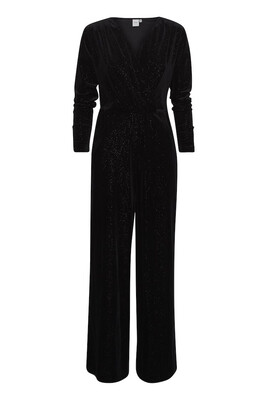 20113353 Black Velvet Jumpsuit With Sparkle Detail
