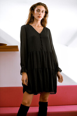 Black Chiffon Ruffled Dress With Beads