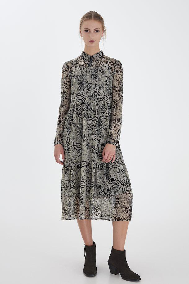 Beige And Black Leopard Print Chiffon Dress