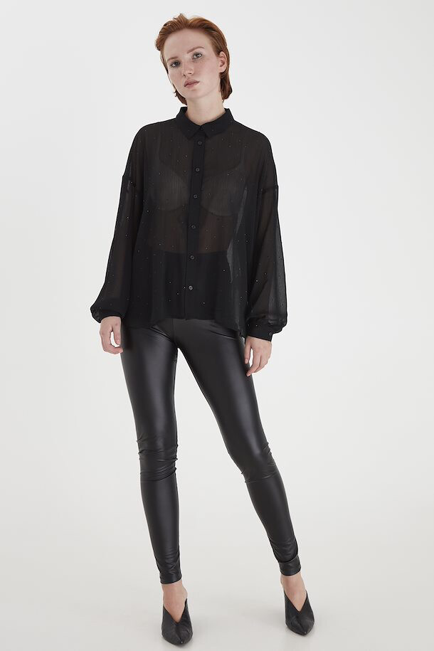 20113365 Black Long Sleeve Blouse With Beaded Detail