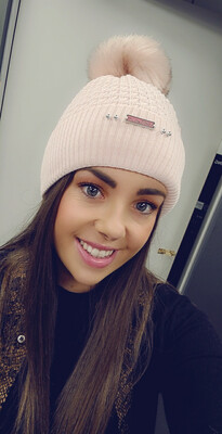 Cable Knit Bobble Hat Baby Pink