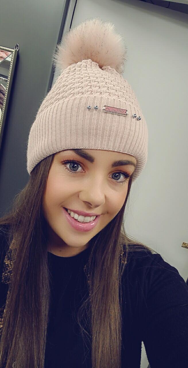 Cable Knit Bobble Hat Dusky Pink