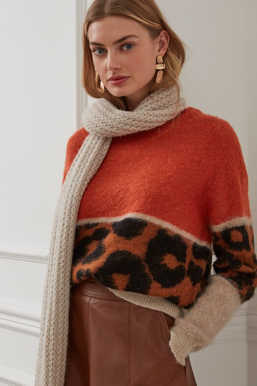 Burnt Orange And Leopard Print Pullover