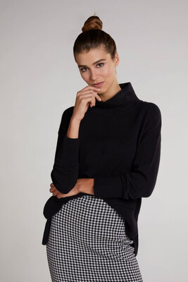 Black Polo Neck Jumper With Knit Pocket Detail
