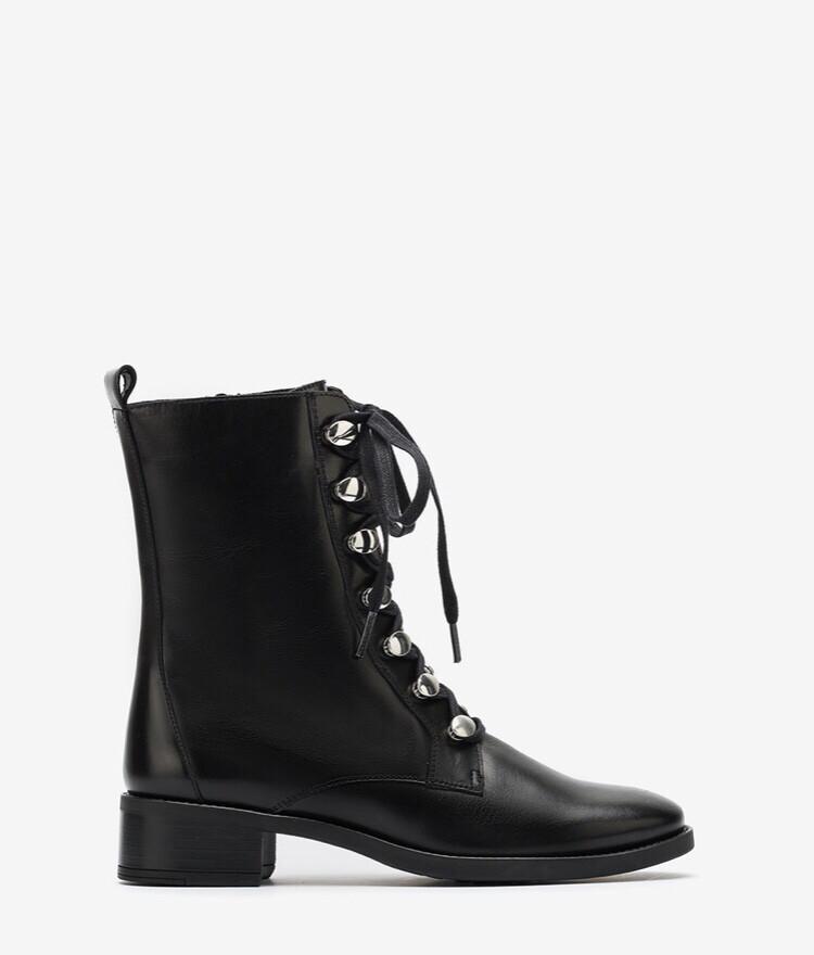 Eugen Black Leather Lace Boots
