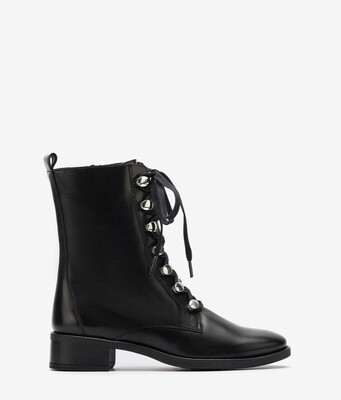 Eugen Black Leather Lace Boots
