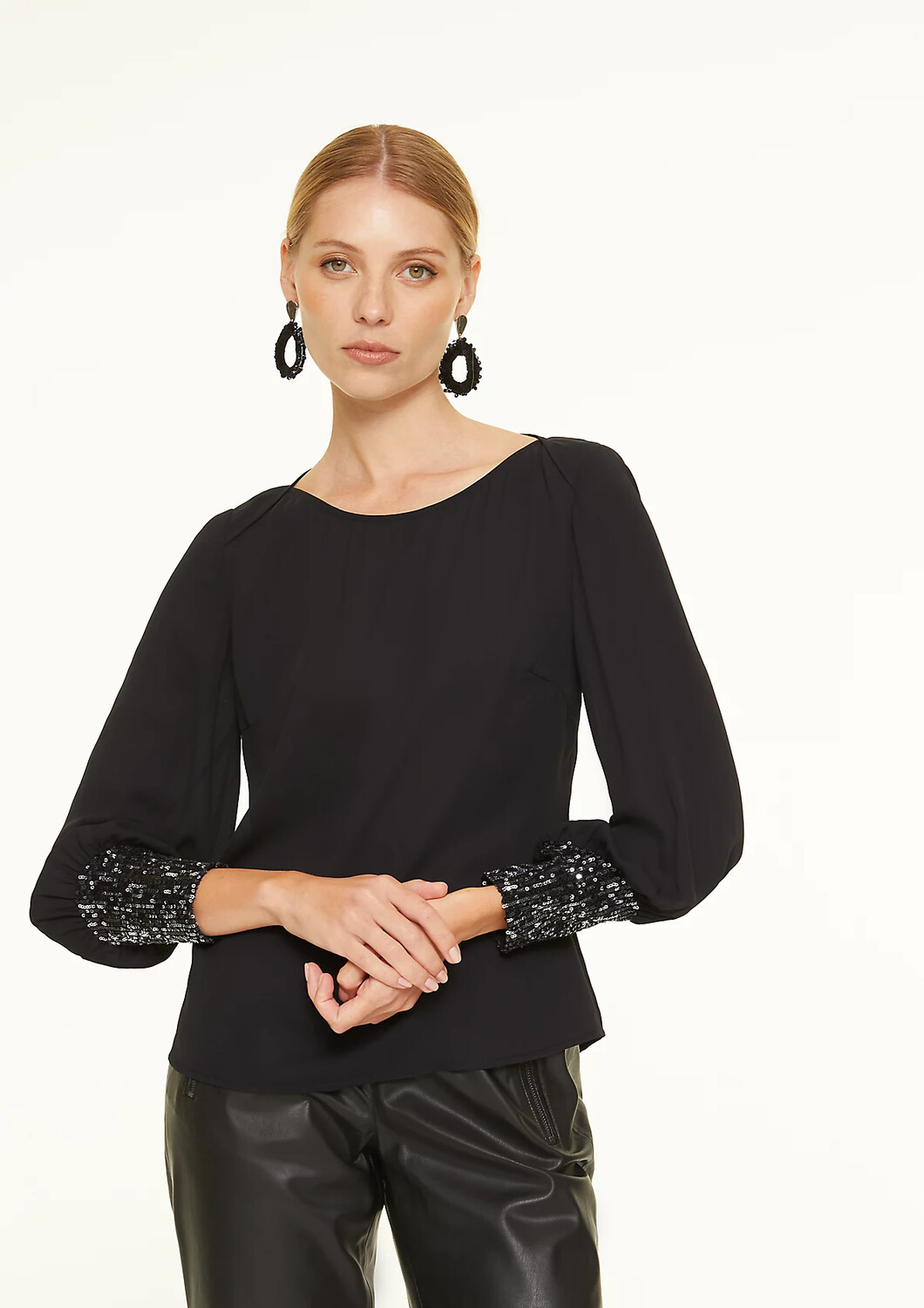 Black Sheer Blouse with Sparkle Cuff Detail