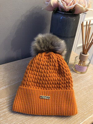 Cable Knit Fleece Lined Fur Bobble Hat Burnt Orange