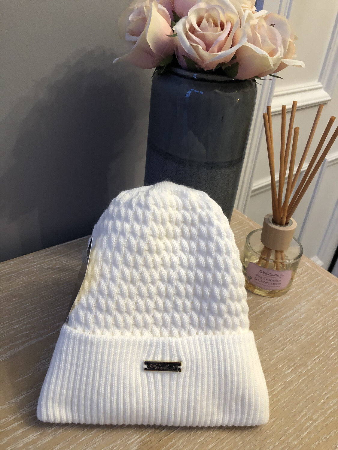 Cable Knit Fleece Lined Hat Cream